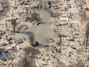 Aftermath of a climate-strengthened fire in California.