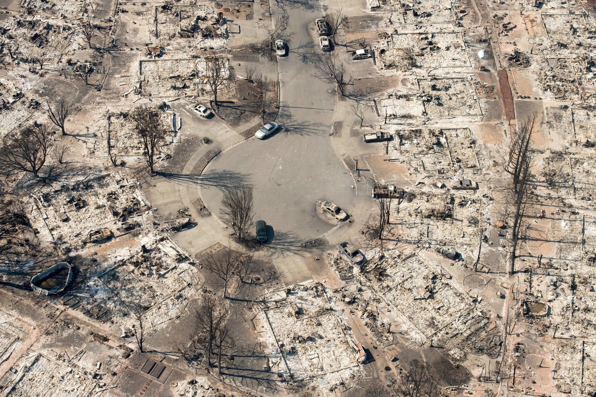 Burned properties are seen in Santa Rosa, Calif.