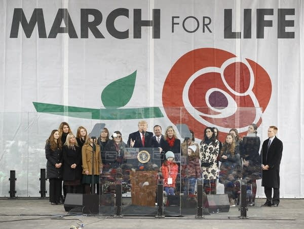 President Trump speaks at a March for Life rally.