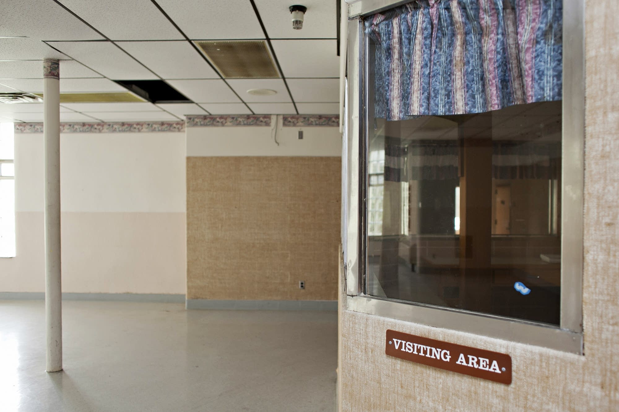 A visiting area is seen inside the former state mental health hospital.