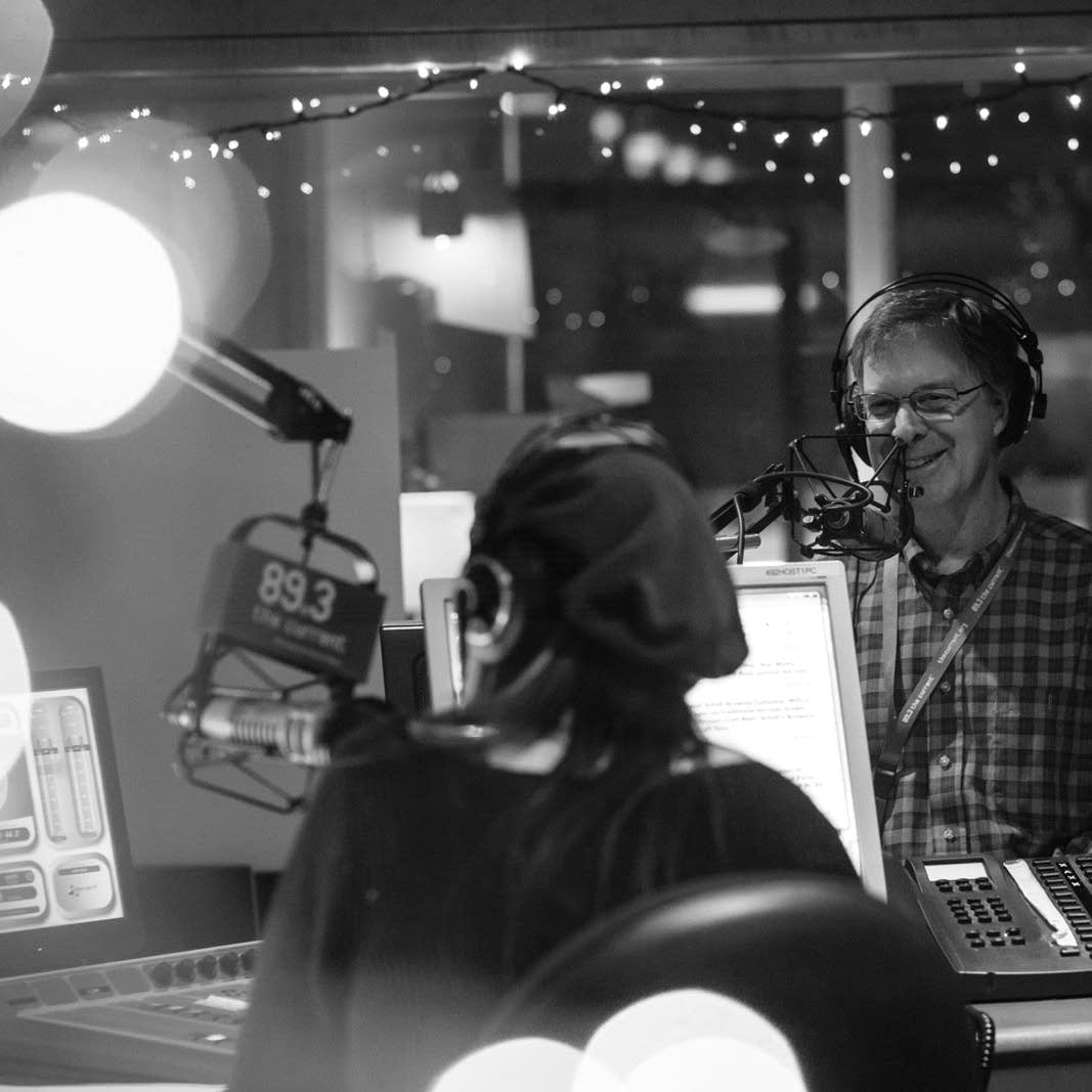 Mary Lucia and Bob Collins in The Current broadcast studio