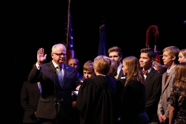 Tim Walz takes the oath of office for Minnesota governor.