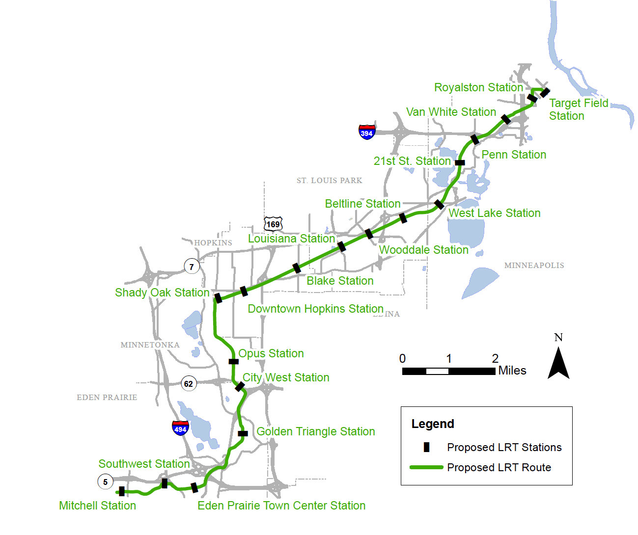 Proposed stations on the Southwest light rail rout
