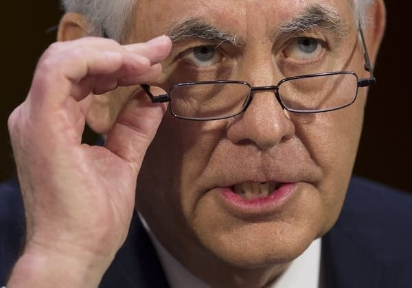 Tillerson testifies during his confirmation hearing for Sec. of State.
