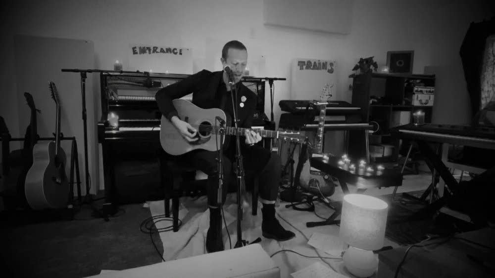 Coldplay's Chris Martin performing at home for Saturday Night Live
