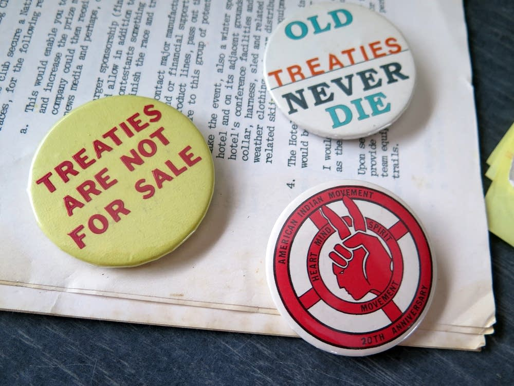 Buttons Curtis Gagnon has saved from the 1980s.