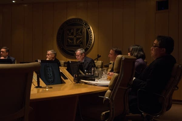 Regents listen during a meeting April 26, 2019
