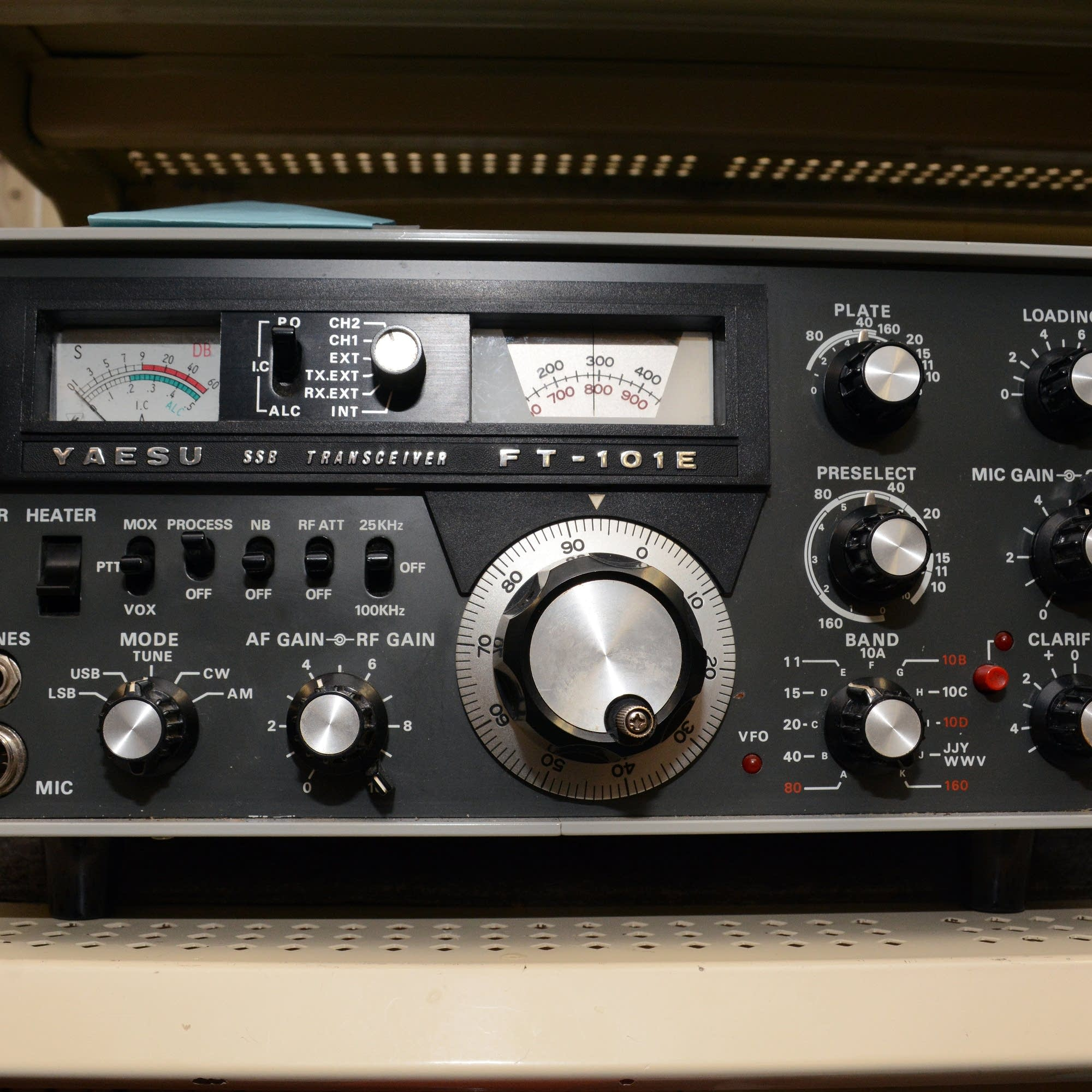 A single sideband radio sits on a shelf at Radio City