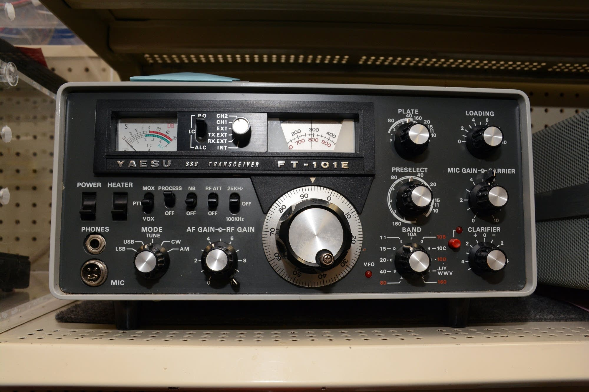 A single sideband radio sits on a shelf at Radio City