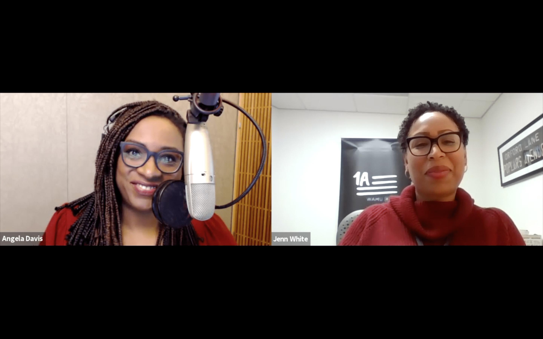 two women speak over zoom