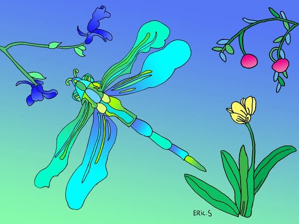 A digital image of a dragonfly with flowers around.