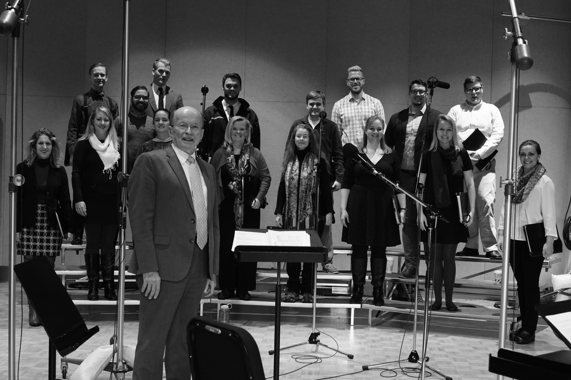 VocalEssence's Philip Brunelle and choral members