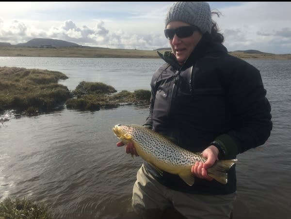 Veterinarian Janet Veit, fishing in Iceland