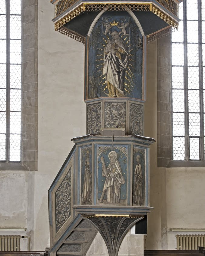 Luther spoke from this pulpit and it's now an object of pilgrimage.