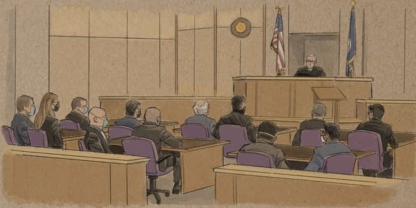 Sketch of a hearing of the case of four ex-cops charged in Floyd's death.