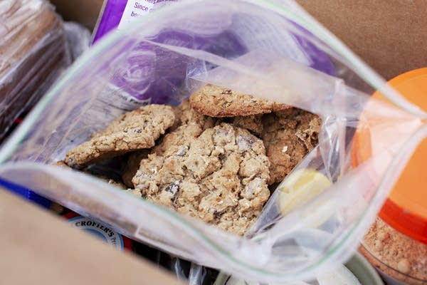 Breakfast cookies made with applesauce, oats, peanut butter and chocolate.