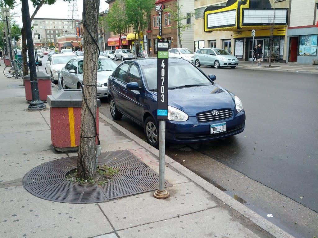 Signs for multi-space parking meters in Minneapolis.