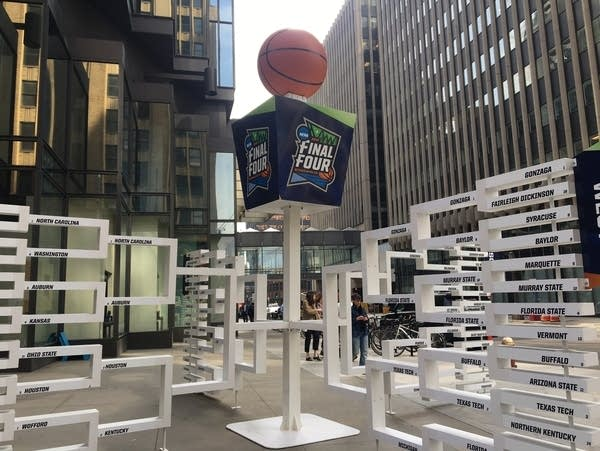A sign for the 2019 NCAA men's basketball Final Four on Nicollet Mall.