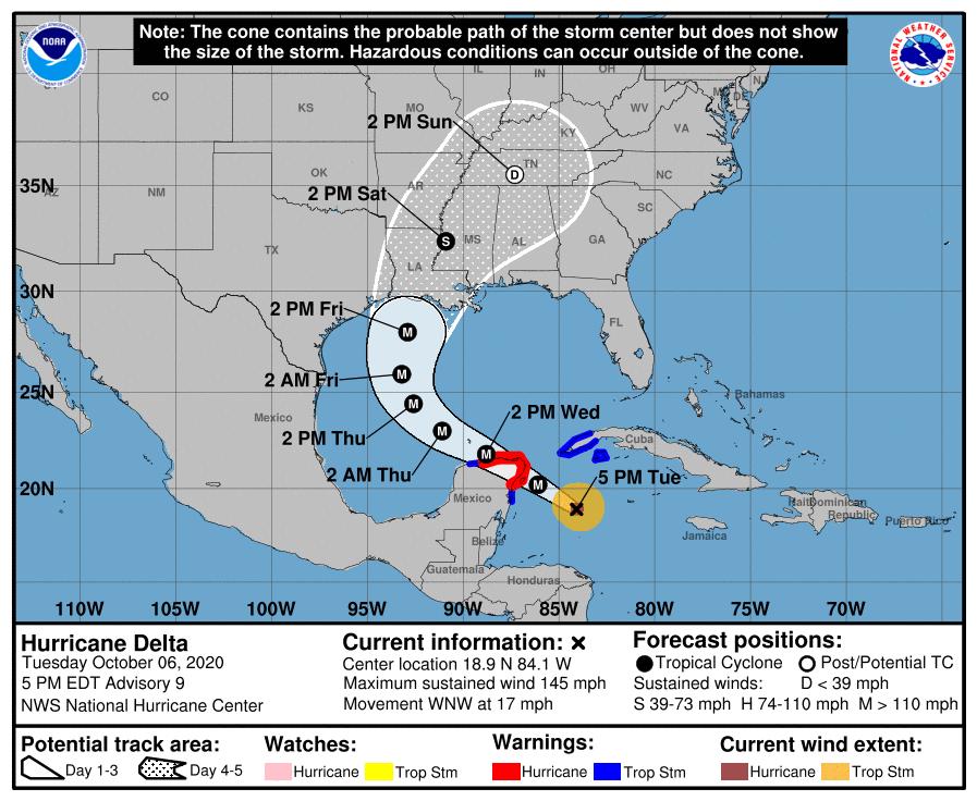 Hurricane Delta forecast track