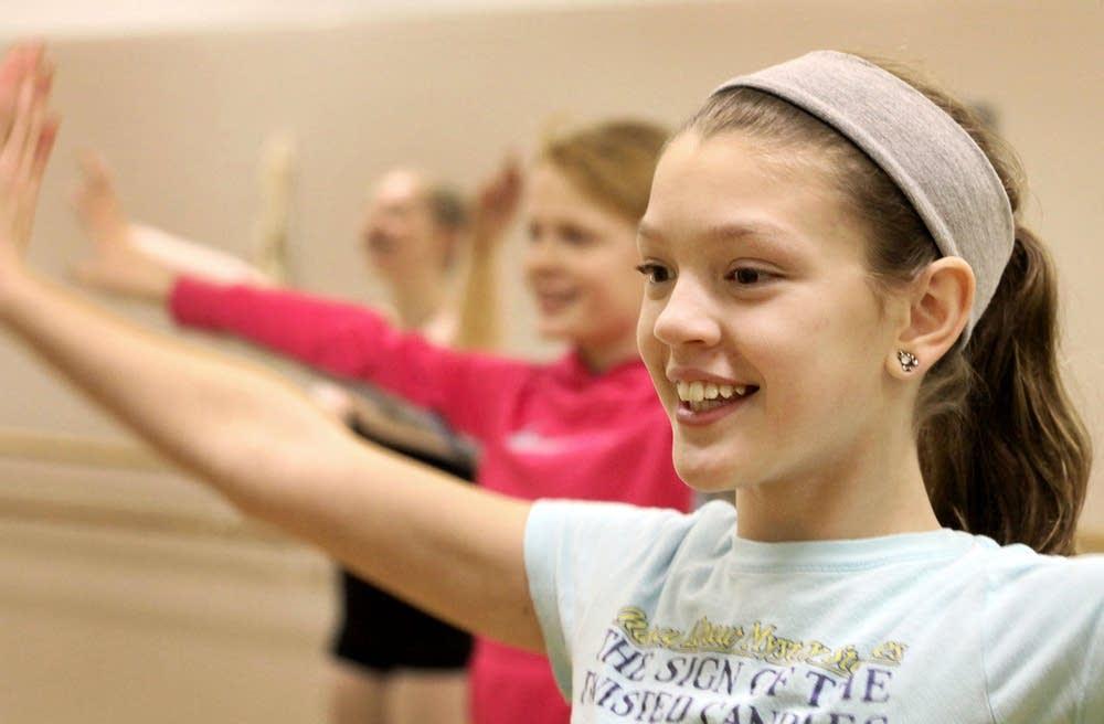 Zoe Gorton rehearses for the Nutcracker ballet.