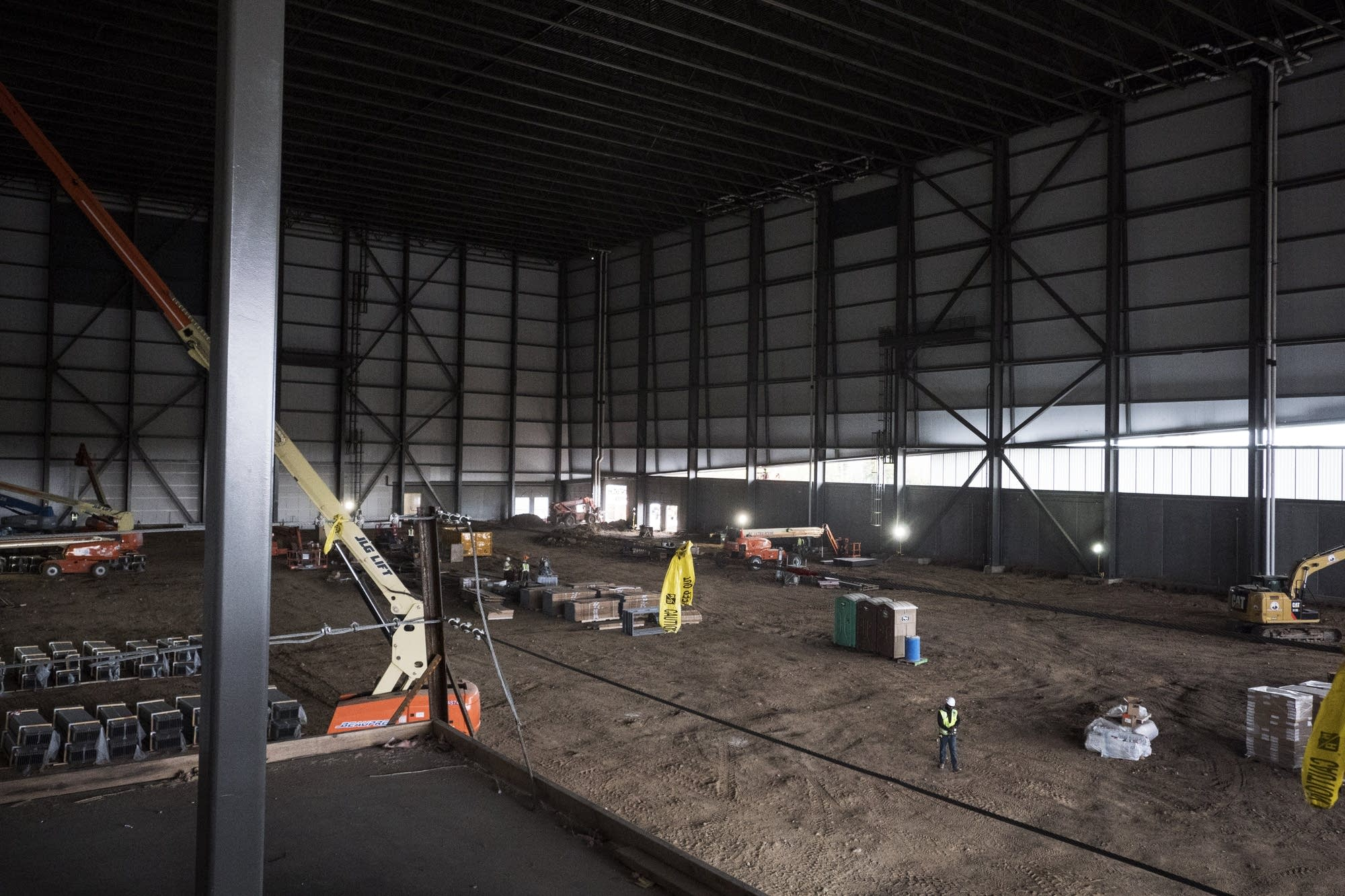 The indoor climate-controlled practice field is under construction.