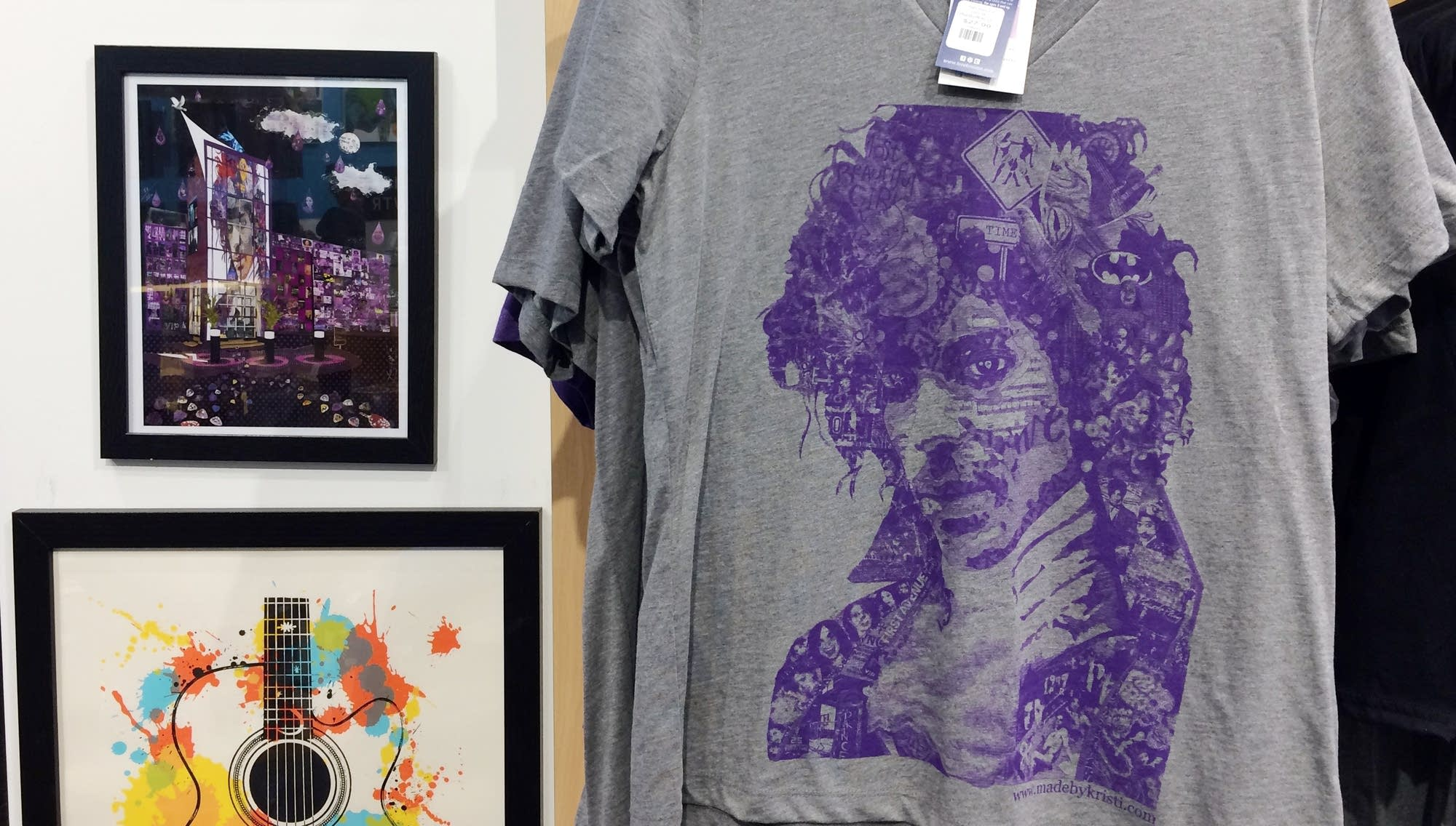 Prince memorabilia for sale at a Mpls. visitor center