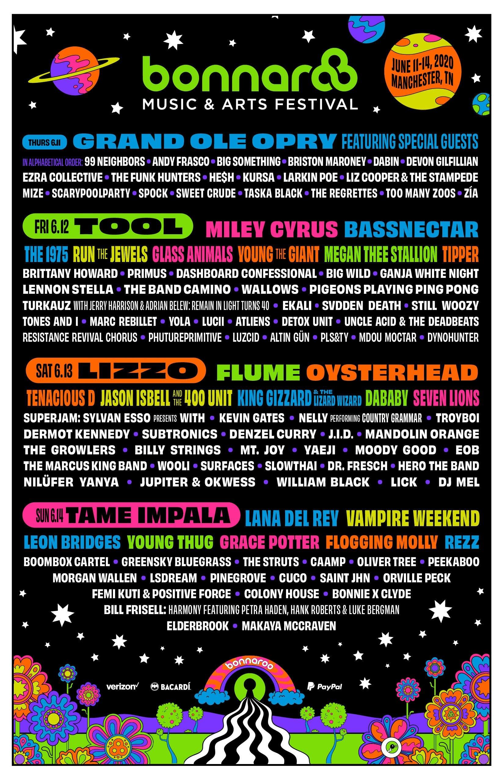 bonnaroo lineup with Tame Impala, Tool, Lizzo, and many many more