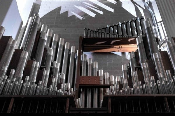 One section of an organ at a church.
